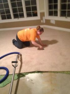 Sewage Backup Cleanup Technician completing job in Downriver